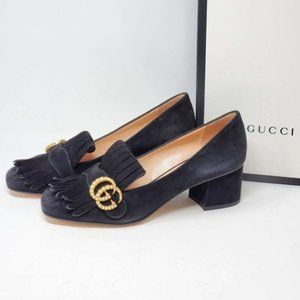 Auth Gucci GG Suede Black Pump Shoes Brand New